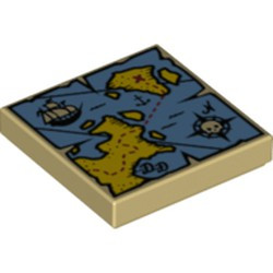 Tan Tile 2 x 2 with Groove with Map Blue Water, Yellow Land, Compass, Pirate Ship and Red 'X' Pattern - new