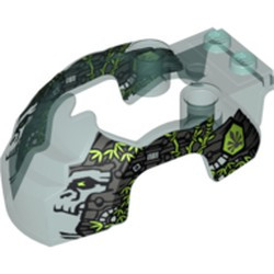Trans-Light Blue Flywheel Fairing Gorilla Shape with Silver Markings and Leaves Pattern (70110) - used