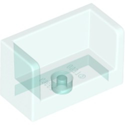Trans-Light Blue Panel 1 x 2 x 1 with Rounded Corners and 2 Sides