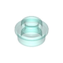 Trans-Light Blue Plate, Round 1 x 1 with Open Stud