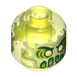 Trans-Neon Green Minifigure, Head Alien Ghost with Yellowish Green Face, Slime Mouth and Flames in Back Pattern - Vented Stud