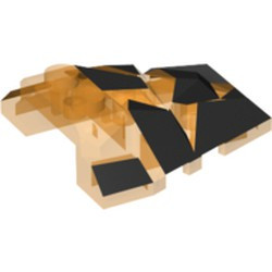 Trans-Orange Wedge 4 x 4 Fractured Polygon Top with Black Facets Pattern - used