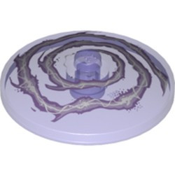 Trans-Purple Dish 4 x 4 Inverted (Radar) with Solid Stud with White and Lavender Lightning Swirl Pattern - used