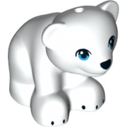 White Bear, Friends / Elves, Baby Cub, Sitting with Black Nose and Claws and Dark Azure Eyes Pattern - new
