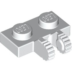 White Hinge Plate 1 x 2 Locking with 2 Fingers on Side and 9 Teeth