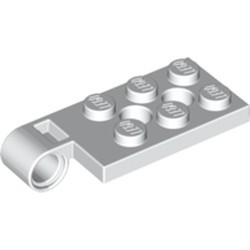 White Hinge Plate 2 x 4 with Pin Hole and 2 Holes - Top