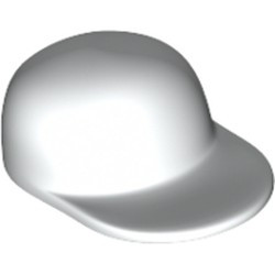 White Minifigure, Headgear Cap - Long Flat Bill - used