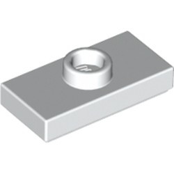 White Plate, Modified 1 x 2 with 1 Stud with Groove and Bottom Stud Holder (Jumper) - used