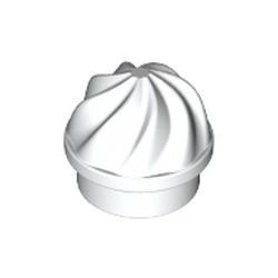 White Plate, Round 1 x 1 with Vertical Swirl / Twist - new