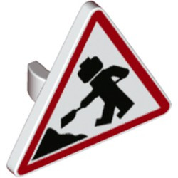 White Road Sign 2 x 2 Triangle with Open O Clip with Minifigure Worker and 1 Pile Pattern