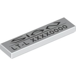 White Tile 1 x 4 with 'SIAN LT-L' and Variable Code Pattern