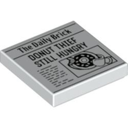 White Tile 2 x 2 with Groove with Newspaper 'The Daily Brick' and 'DONUT THIEF STILL HUNGRY' Pattern