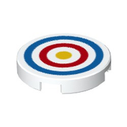 White Tile, Round 2 x 2 with Bottom Stud Holder with Blue and Red Circles and Yellow Dot Archery Target Pattern - new
