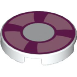 White Tile, Round 2 x 2 with Magenta and Bright Pink Life Preserver, Curved Bands Pattern