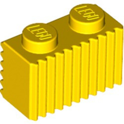 Yellow Brick, Modified 1 x 2 with Grille (Flutes) - new