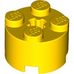 Yellow Brick, Round 2 x 2 with Axle Hole - used