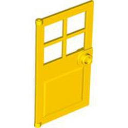 Yellow Door 1 x 4 x 6 with 4 Panes and Stud Handle - used