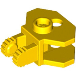 Yellow Hinge 1 x 2 Locking with 2 Fingers, 9 Teeth and Tow Ball Socket - used