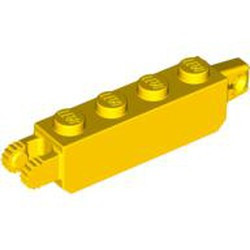 Yellow Hinge Brick 1 x 4 Locking, 9 Teeth with 1 Finger Vertical End and 2 Fingers Vertical End, 9 Teeth - used