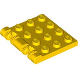 Yellow Hinge Plate 3 x 4 Locking Dual 2 Finger, 9 Teeth - used