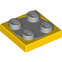 Yellow Turntable 2 x 2 Plate with Light Bluish Gray Top (3680 / 3679) - used