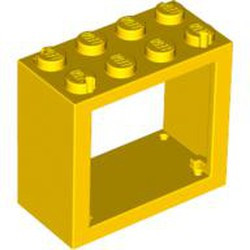 Yellow Window 2 x 4 x 3 Frame - Solid Studs - used