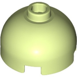 Yellowish Green Brick, Round 2 x 2 Dome Top - Hollow Stud with Bottom Axle Holder x Shape + Orientation - used