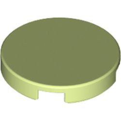 Yellowish Green Tile, Round 2 x 2 with Bottom Stud Holder