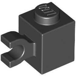 Black Brick, Modified 1 x 1 with Clip (Horizontal Grip) - used