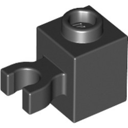 Black Brick, Modified 1 x 1 with Open O Clip (Vertical Grip) - used - Hollow Stud