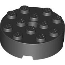 Black Brick, Round 4 x 4 with Hole