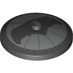 Black Dish 4 x 4 Inverted (Radar) with Solid Stud with Black Bat on Silver Background Batman Logo (Bat Signal) Pattern - used