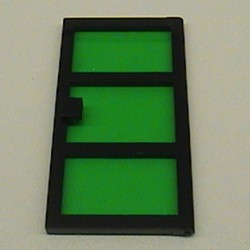 Black Door 1 x 4 x 6 with 3 Panes with Trans-Green Glass - used