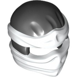 Black Minifigure, Headgear Ninjago Wrap Type 2 with White Wraps and Knot Pattern - used