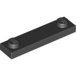 Black Plate, Modified 1 x 4 with 2 Studs without Groove - used