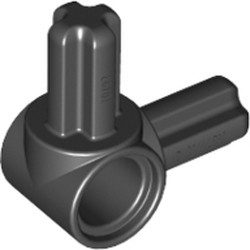 Black Technic, Axle and Pin Connector Hub with 2 Perpendicular Axles - used
