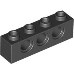 Black Technic, Brick 1 x 4 with Holes - used