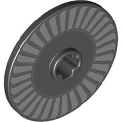 Black Technic, Disk 3 x 3 with Silver and Light Bluish Gray Fan Pattern
