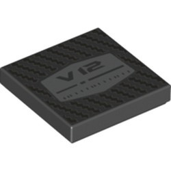 Black Tile 2 x 2 with Groove with 'V12' and Texture Pattern - new