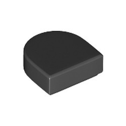 Black Tile, Modified 1 x 1 Half Circle Extended (Stadium) - new