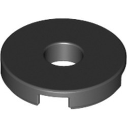 Black Tile, Round 2 x 2 with Hole - new