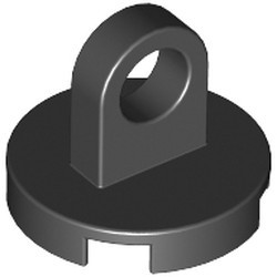 Black Tile, Round 2 x 2 with Lifting Ring Thick and Bottom Stud Holder - new