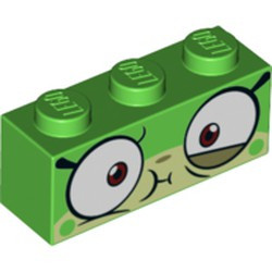 Bright Green Brick 1 x 3 with Cat Face Wide Eyes and Olive Green Lower Eyelid, Sick Expression with Closed Mouth Pattern (Queasy Unikitty) - new