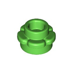 Bright Green Plate, Round 1 x 1 with Flower Edge (5 Petals) - new
