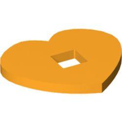 Bright Light Orange Felt Fabric 5 x 4 Heart Thick with Square Hole