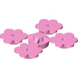 Bright Pink Plant Flower Small, 4 on Sprue
