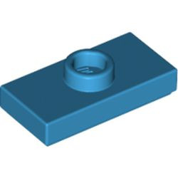 Dark Azure Plate, Modified 1 x 2 with 1 Stud with Groove and Bottom Stud Holder (Jumper) - new