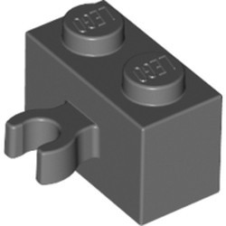 Dark Bluish Gray Brick, Modified 1 x 2 with Open O Clip Thick (Vertical Grip) - new