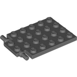 Dark Bluish Gray Plate, Modified 4 x 6 with Trap Door Hinge (Long Pins) - used