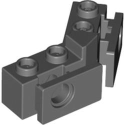 Dark Bluish Gray Technic, Brick 1 x 2 - 1 x 2 Angled with Bumper Holder, Open Front